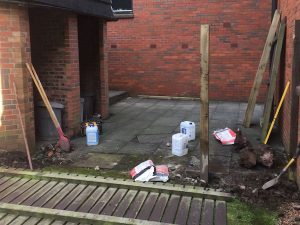 Re-erected gate post in new post hole