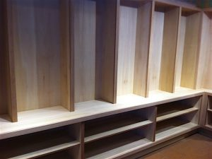 Shelf dividers and lower cabinets installed
